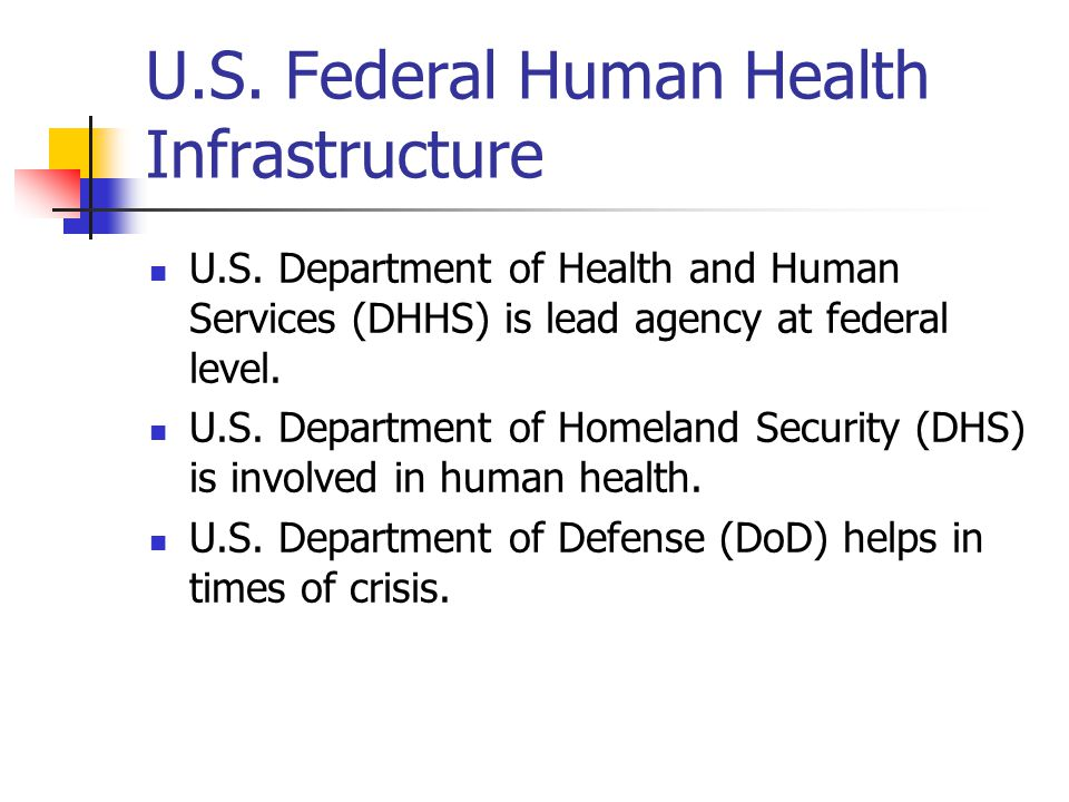 U.S. Federal Human Health Infrastructure U.S.