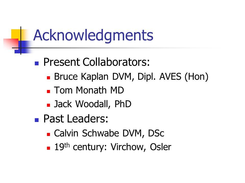 Acknowledgments Present Collaborators: Bruce Kaplan DVM, Dipl.