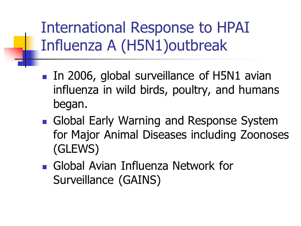 International Response to HPAI Influenza A (H5N1)outbreak In 2006, global surveillance of H5N1 avian influenza in wild birds, poultry, and humans began.