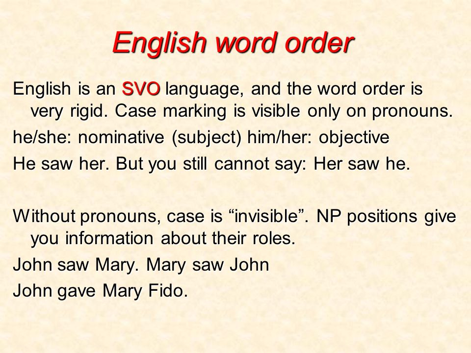 English word order English is an SVO language, and the word order is very rigid.