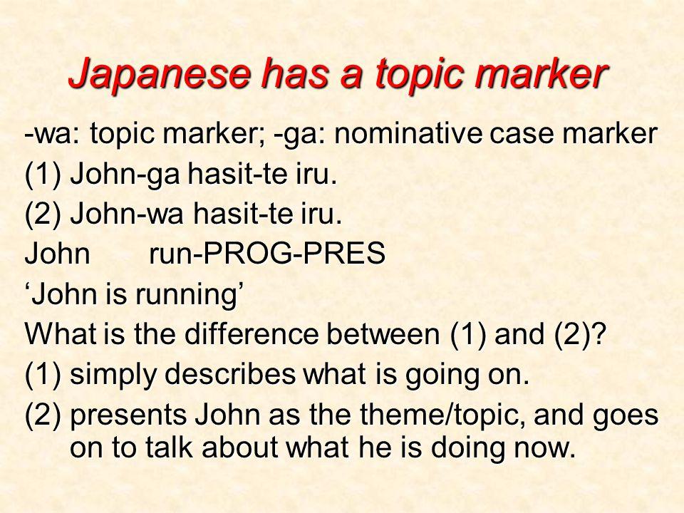 Japanese has a topic marker -wa: topic marker; -ga: nominative case marker (1) John-ga hasit-te iru. (2) John-wa hasit-te iru. John run-PROG-PRES 'Joh