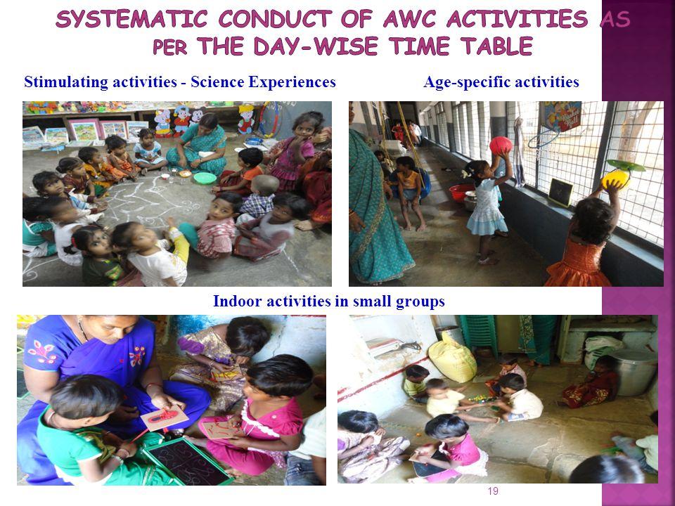 19 Stimulating activities - Science ExperiencesAge-specific activities Indoor activities in small groups