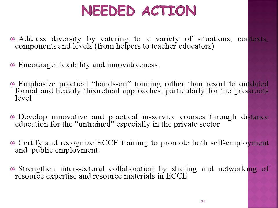  Address diversity by catering to a variety of situations, contexts, components and levels (from helpers to teacher-educators)  Encourage flexibilit