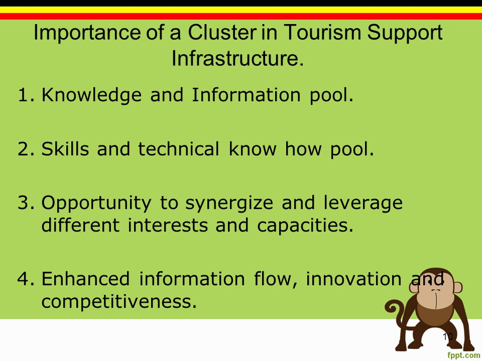 Importance of a Cluster in Tourism Support Infrastructure.