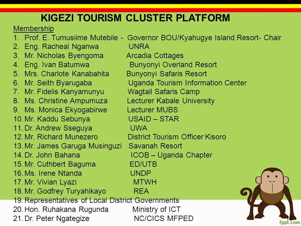 KIGEZI TOURISM CLUSTER PLATFORM Membership 1.Prof.