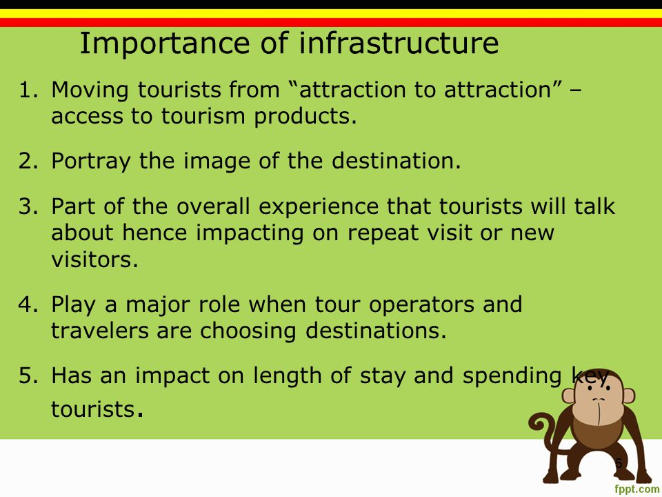 Importance of infrastructure 1.Moving tourists from attraction to attraction – access to tourism products.