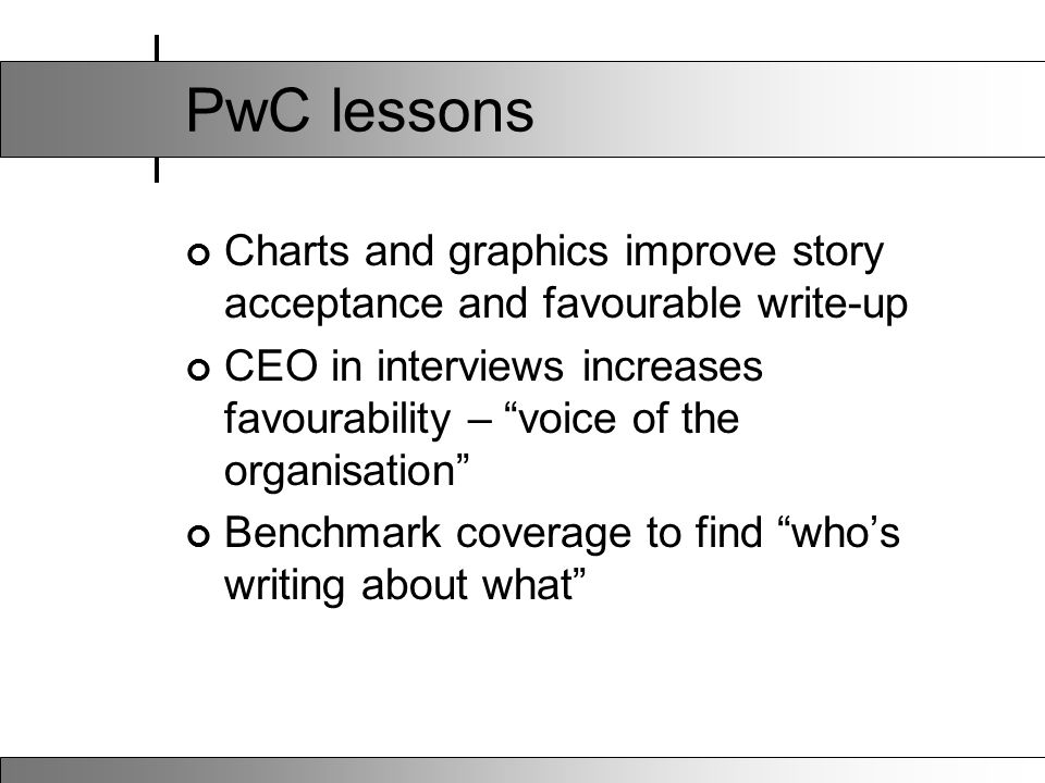 PwC lessons Charts and graphics improve story acceptance and favourable write-up CEO in interviews increases favourability – voice of the organisation Benchmark coverage to find who's writing about what