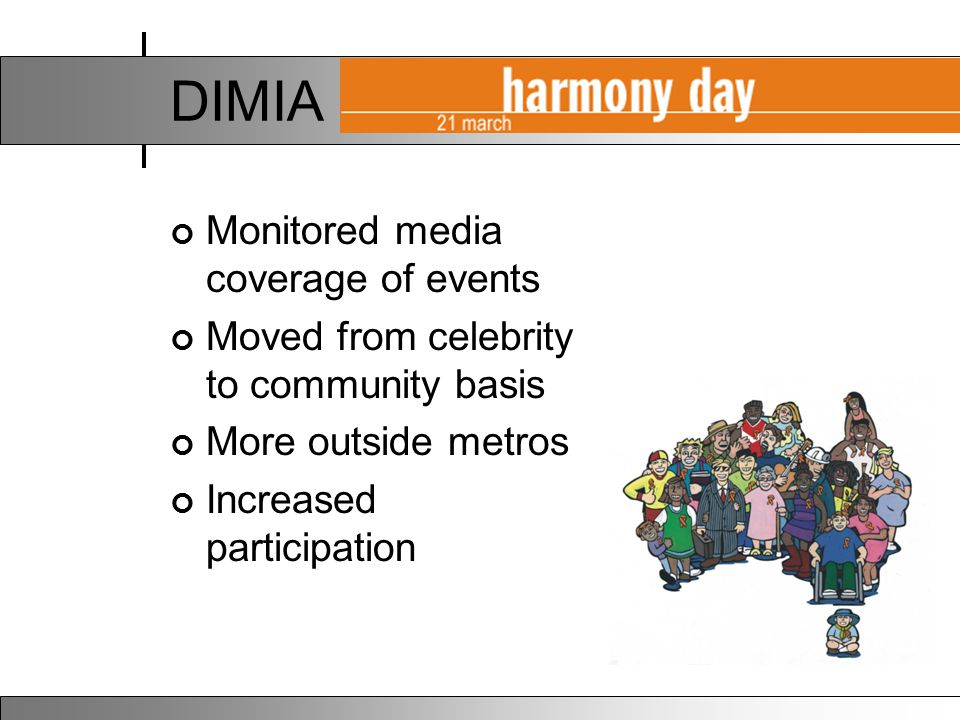 DIMIA Monitored media coverage of events Moved from celebrity to community basis More outside metros Increased participation