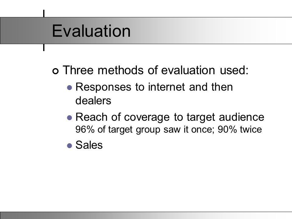 Evaluation Three methods of evaluation used: Responses to internet and then dealers Reach of coverage to target audience 96% of target group saw it once; 90% twice Sales