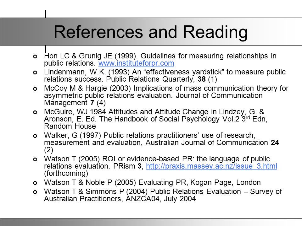 References and Reading Hon LC & Grunig JE (1999).