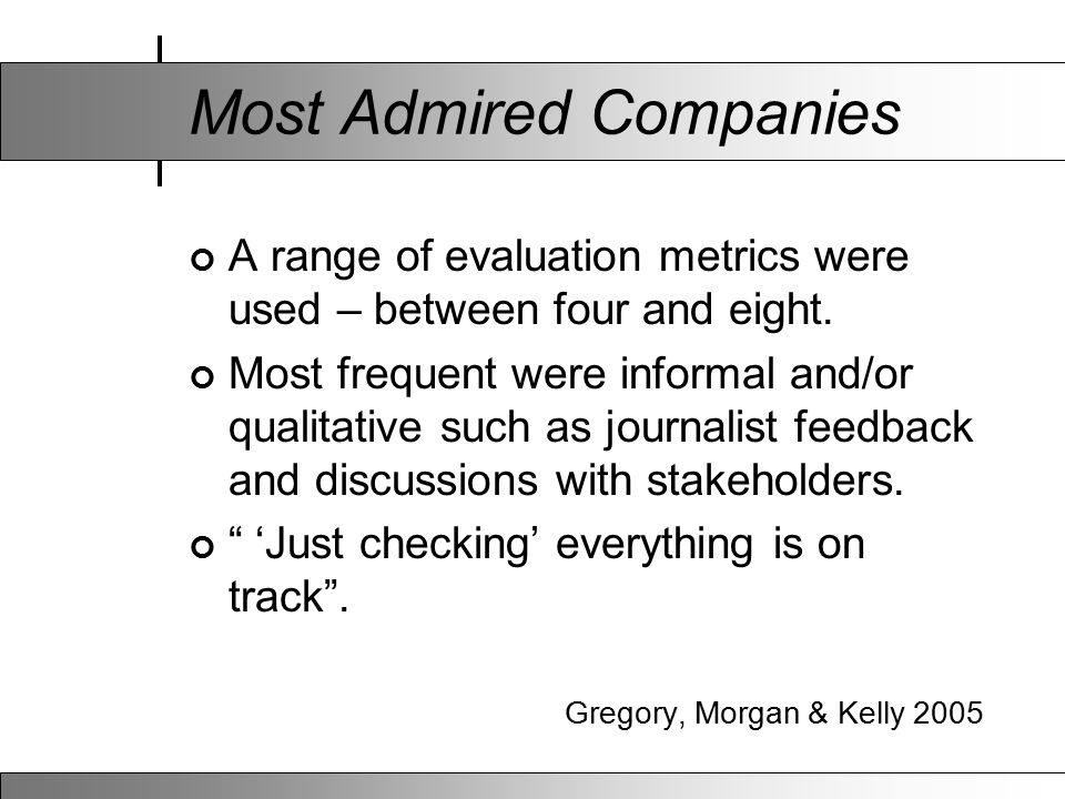 Most Admired Companies A range of evaluation metrics were used – between four and eight. Most frequent were informal and/or qualitative such as journa