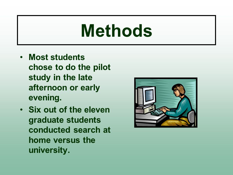Methods Most students chose to do the pilot study in the late afternoon or early evening.