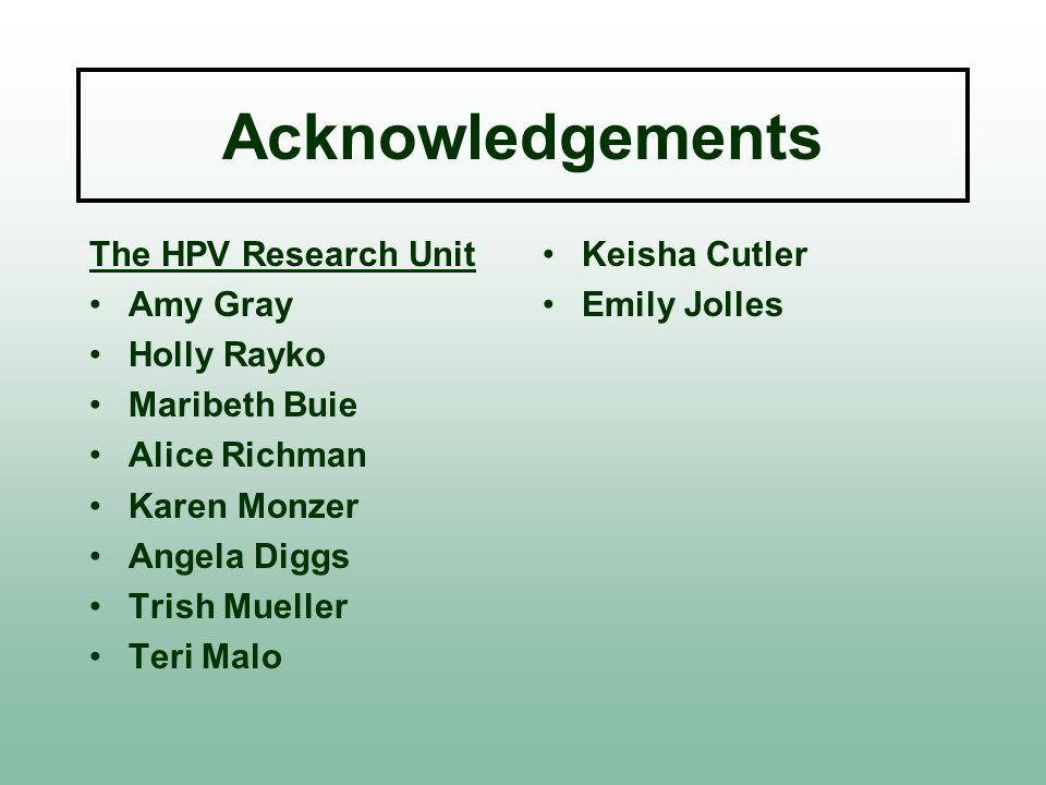 Acknowledgements The HPV Research Unit Amy Gray Holly Rayko Maribeth Buie Alice Richman Karen Monzer Angela Diggs Trish Mueller Teri Malo Keisha Cutler Emily Jolles
