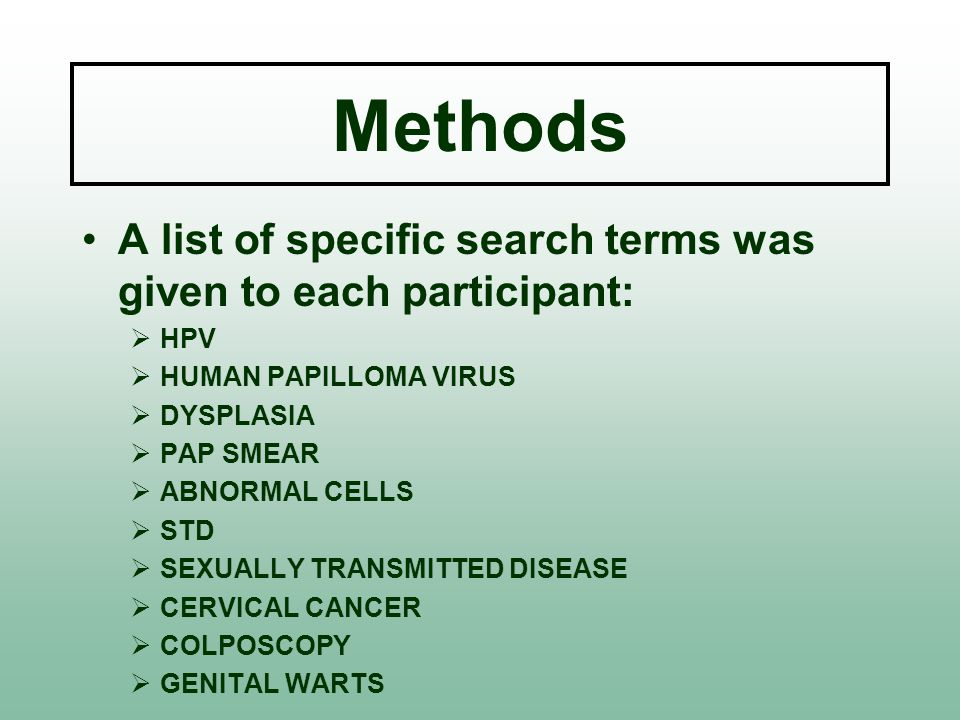 Methods A list of specific search terms was given to each participant:  HPV  HUMAN PAPILLOMA VIRUS  DYSPLASIA  PAP SMEAR  ABNORMAL CELLS  STD  SEXUALLY TRANSMITTED DISEASE  CERVICAL CANCER  COLPOSCOPY  GENITAL WARTS