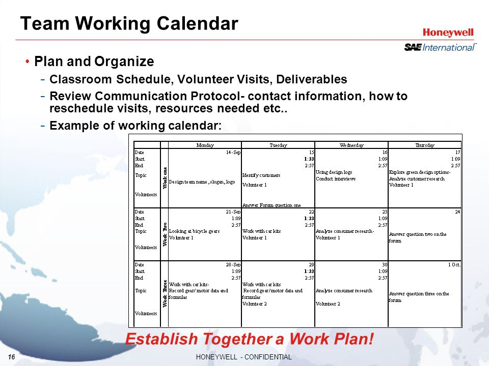 16HONEYWELL - CONFIDENTIAL Team Working Calendar Plan and Organize - Classroom Schedule, Volunteer Visits, Deliverables - Review Communication Protoco