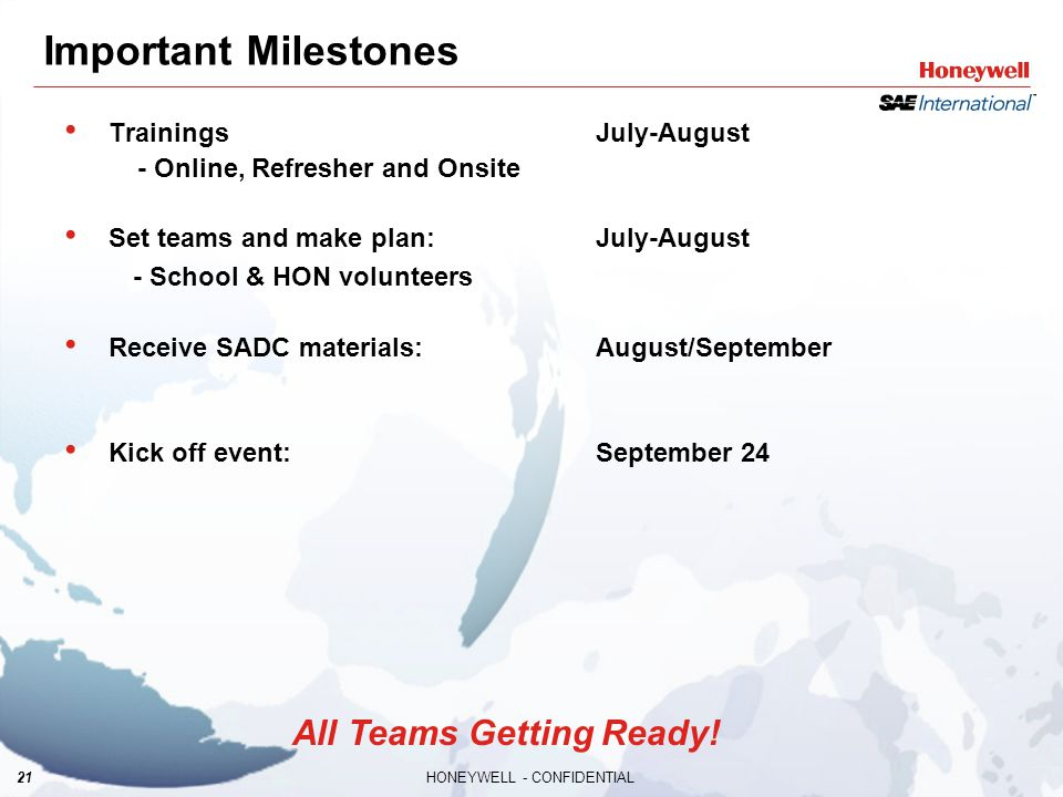 21HONEYWELL - CONFIDENTIAL Important Milestones TrainingsJuly-August - Online, Refresher and Onsite Set teams and make plan:July-August - School & HON volunteers Receive SADC materials:August/September Kick off event:September 24 All Teams Getting Ready!