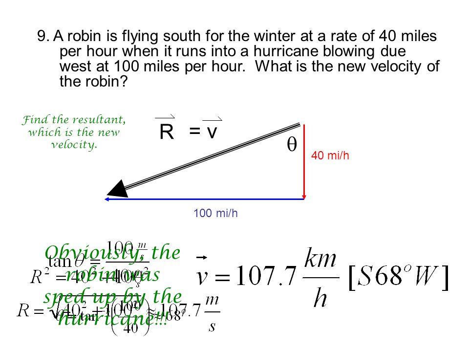  R 100 mi/h 40 mi/h = v 9.