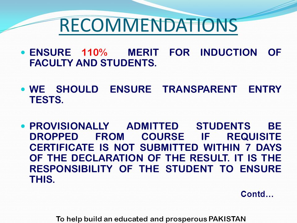 ENSURE 110% MERIT FOR INDUCTION OF FACULTY AND STUDENTS.