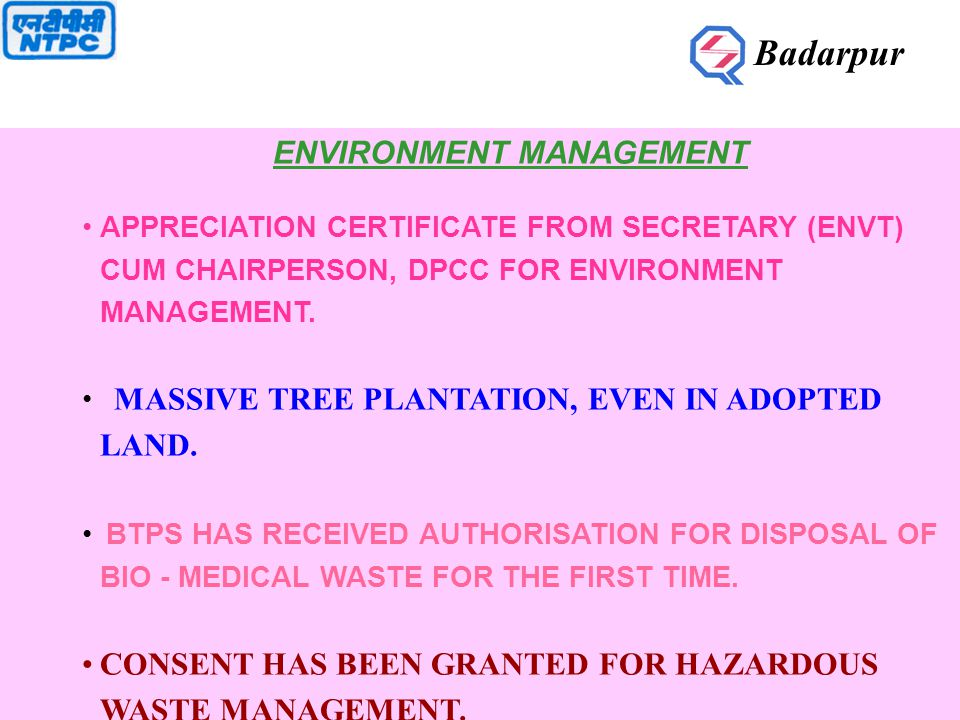 ENVIRONMENT MANAGEMENT APPRECIATION CERTIFICATE FROM SECRETARY (ENVT) CUM CHAIRPERSON, DPCC FOR ENVIRONMENT MANAGEMENT.