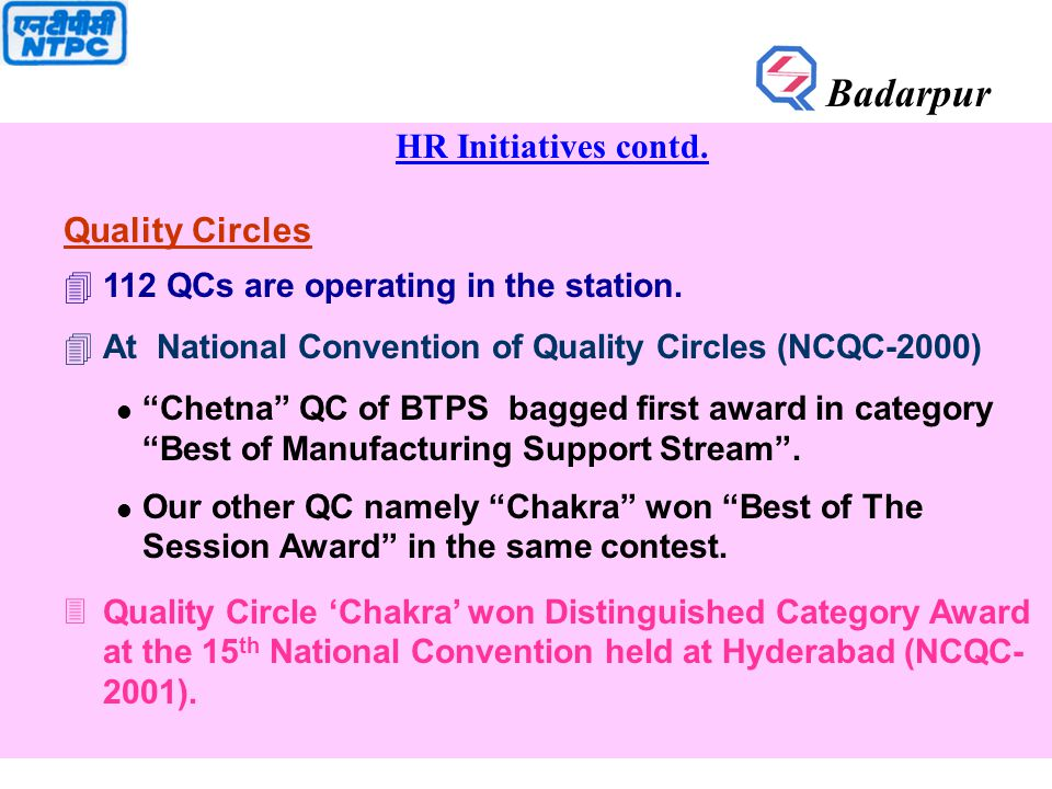 HR Initiatives contd. Quality Circles 4112 QCs are operating in the station.