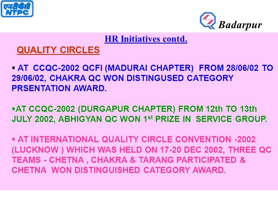 HR Initiatives contd. QUALITY CIRCLES  AT CCQC-2002 QCFI (MADURAI CHAPTER) FROM 28/06/02 TO 29/06/02, CHAKRA QC WON DISTINGUSED CATEGORY PRSENTATION