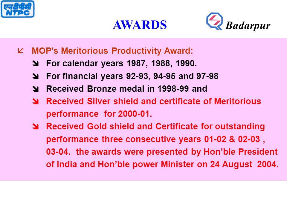 åMOP's Meritorious Productivity Award: îFor calendar years 1987, 1988, 1990.