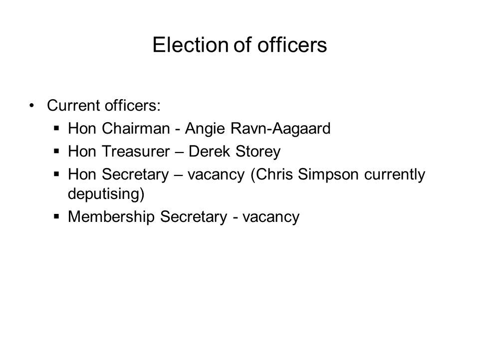 Election of officers Current officers:  Hon Chairman - Angie Ravn-Aagaard  Hon Treasurer – Derek Storey  Hon Secretary – vacancy (Chris Simpson currently deputising)  Membership Secretary - vacancy