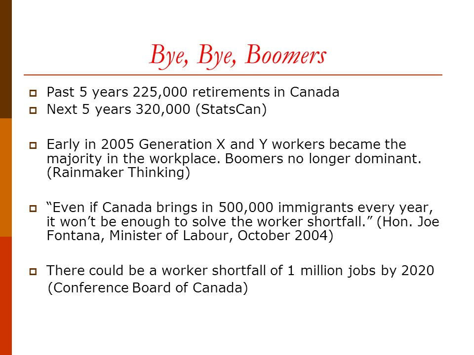 Bye, Bye, Boomers  Past 5 years 225,000 retirements in Canada  Next 5 years 320,000 (StatsCan)  Early in 2005 Generation X and Y workers became the majority in the workplace.