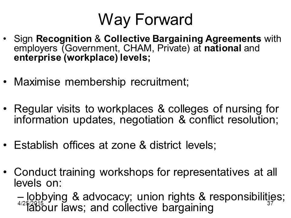 4/25/201537 Way Forward Sign Recognition & Collective Bargaining Agreements with employers (Government, CHAM, Private) at national and enterprise (wor