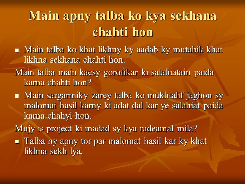Main apny talba ko kya sekhana chahti hon Main talba ko khat likhny ky aadab ky mutabik khat likhna sekhana chahti hon.