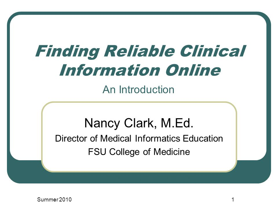 Finding Reliable Clinical Information Online Nancy Clark, M.Ed.