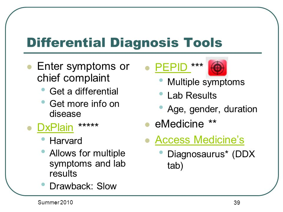 Differential Diagnosis Tools Enter symptoms or chief complaint Get a differential Get more info on disease DxPlain ***** DxPlain Harvard Allows for multiple symptoms and lab results Drawback: Slow PEPID *** PEPID Multiple symptoms Lab Results Age, gender, duration eMedicine ** Access Medicine's Diagnosaurus* (DDX tab) Summer 2010 39