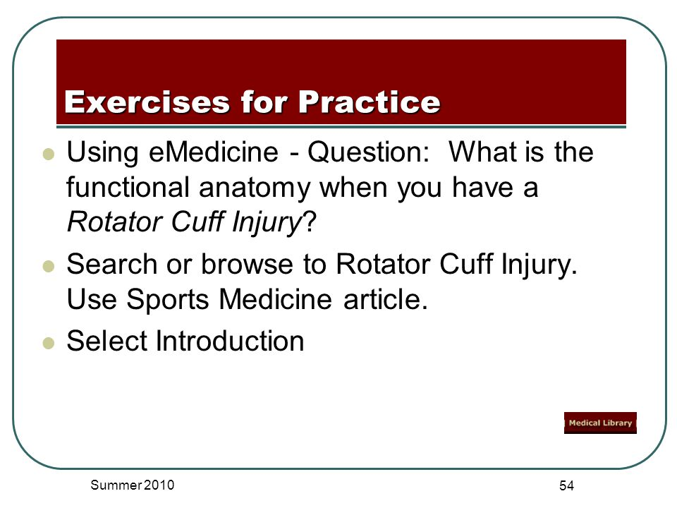 Using eMedicine - Question: What is the functional anatomy when you have a Rotator Cuff Injury.