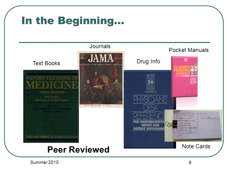 In the Beginning… Summer 2010 6 Journals Text Books Drug Info Pocket Manuals Note Cards Peer Reviewed