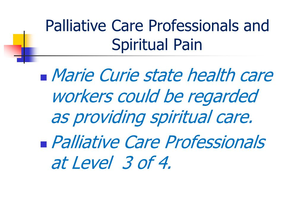 Palliative Care Professionals and Spiritual Pain Marie Curie state health care workers could be regarded as providing spiritual care.