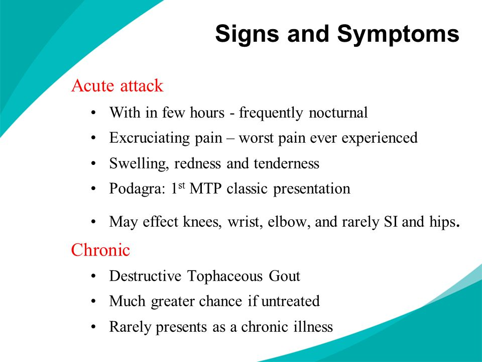 Sequence of Progression Asymptomatic Hyperuricemia Acute Gouty Monoarthritis Interval or Intercritical Gout Chronic Tophaceous Gout