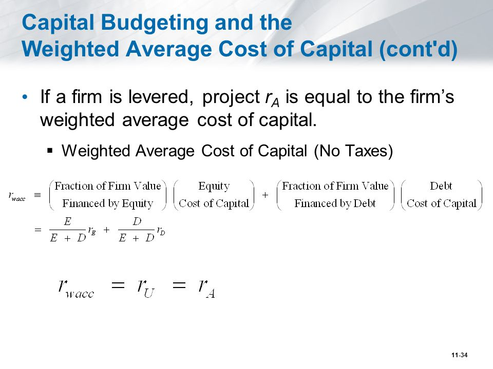 Figure 14.1 WACC and Leverage with Perfect Capital Markets 11-35