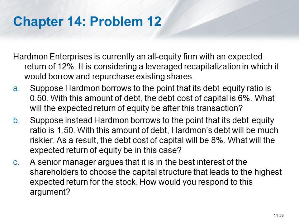 Problem Honeywell International Inc.(HON) has a market debt- equity ratio of 0.5.