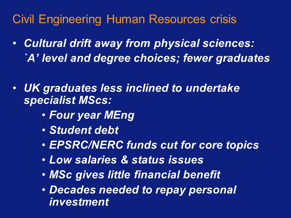 Civil Engineering Human Resources crisis Cultural drift away from physical sciences: `A' level and degree choices; fewer graduates UK graduates less i