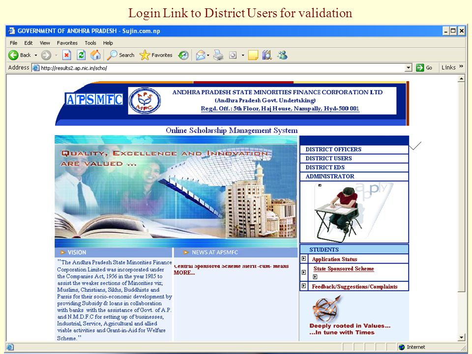 Login Link to District Users for validation