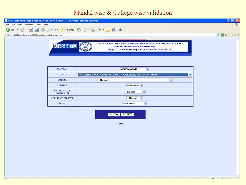 Mandal wise & College wise validation