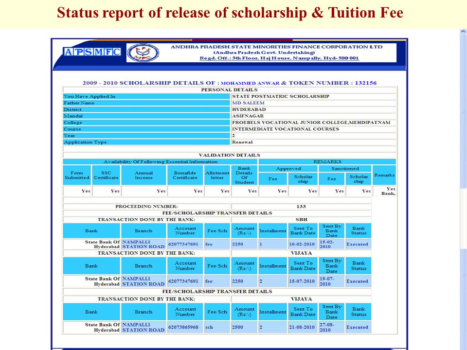 Status report of release of scholarship & Tuition Fee