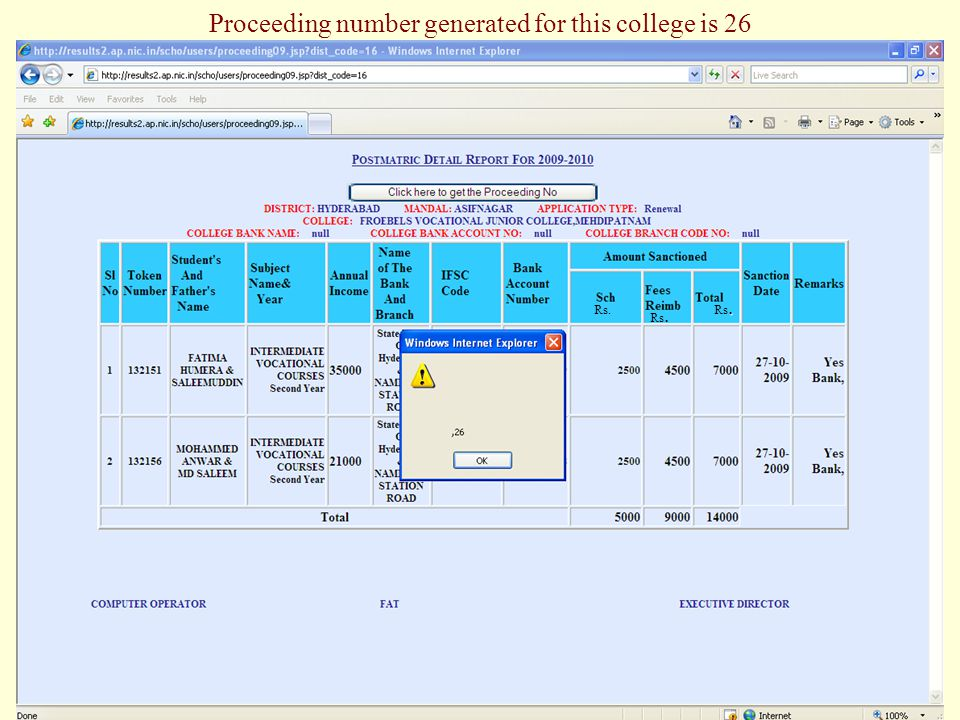 Proceeding number generated for this college is 26 Rs.. Rs.