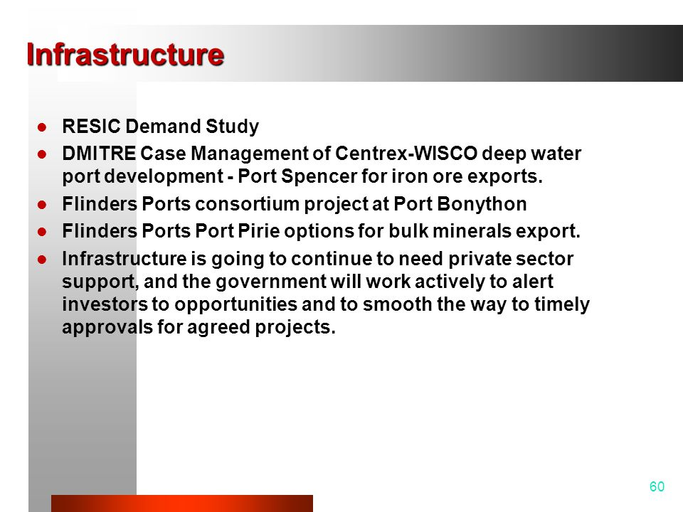 Infrastructure RESIC Demand Study DMITRE Case Management of Centrex-WISCO deep water port development - Port Spencer for iron ore exports.