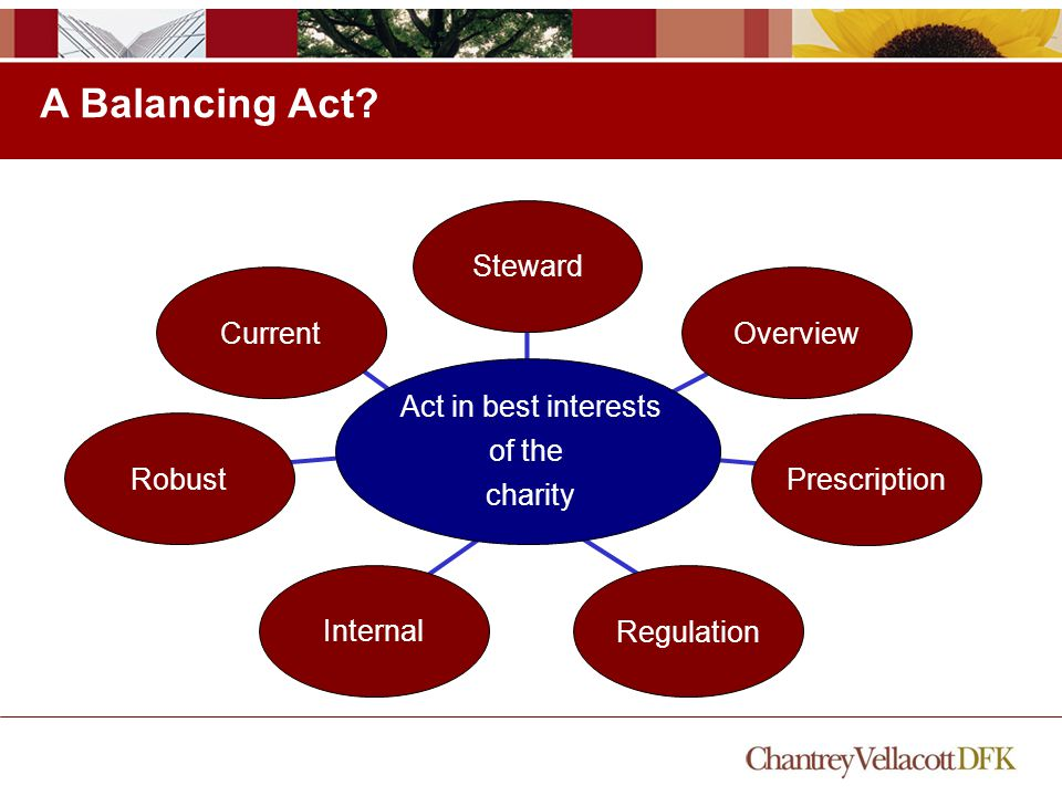 Internal OverviewSteward A Balancing Act? Prescription Regulation RobustCurrent Act in best interests of the charity