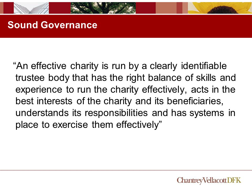Sound Governance An effective charity is run by a clearly identifiable trustee body that has the right balance of skills and experience to run the charity effectively, acts in the best interests of the charity and its beneficiaries, understands its responsibilities and has systems in place to exercise them effectively