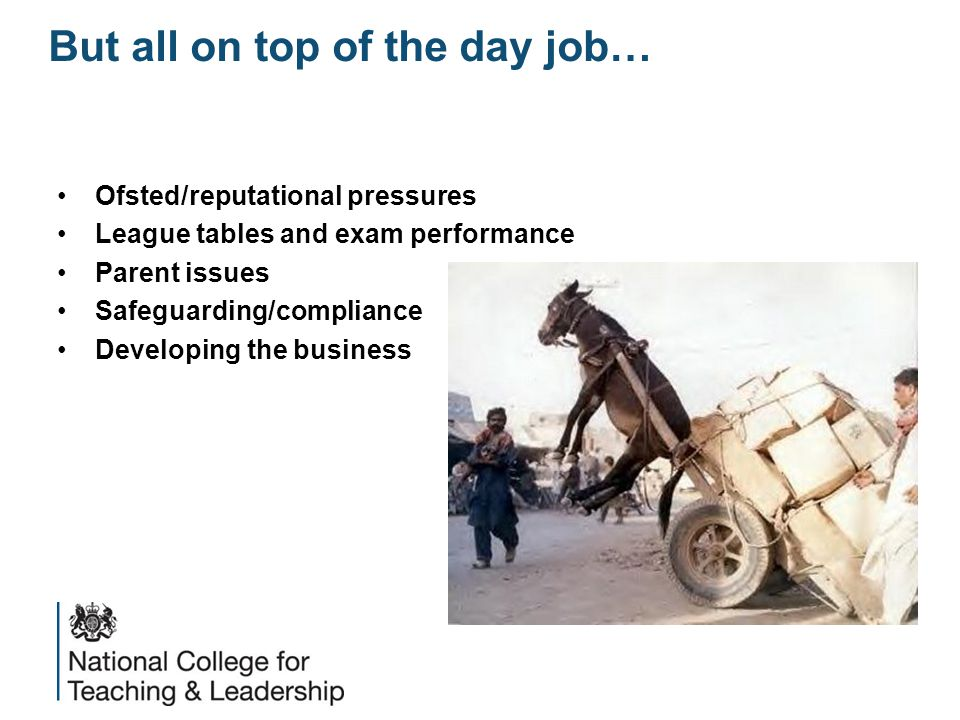 But all on top of the day job… Ofsted/reputational pressures League tables and exam performance Parent issues Safeguarding/compliance Developing the business