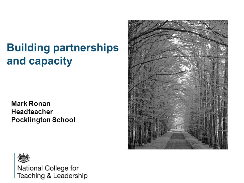 Building partnerships and capacity Mark Ronan Headteacher Pocklington School