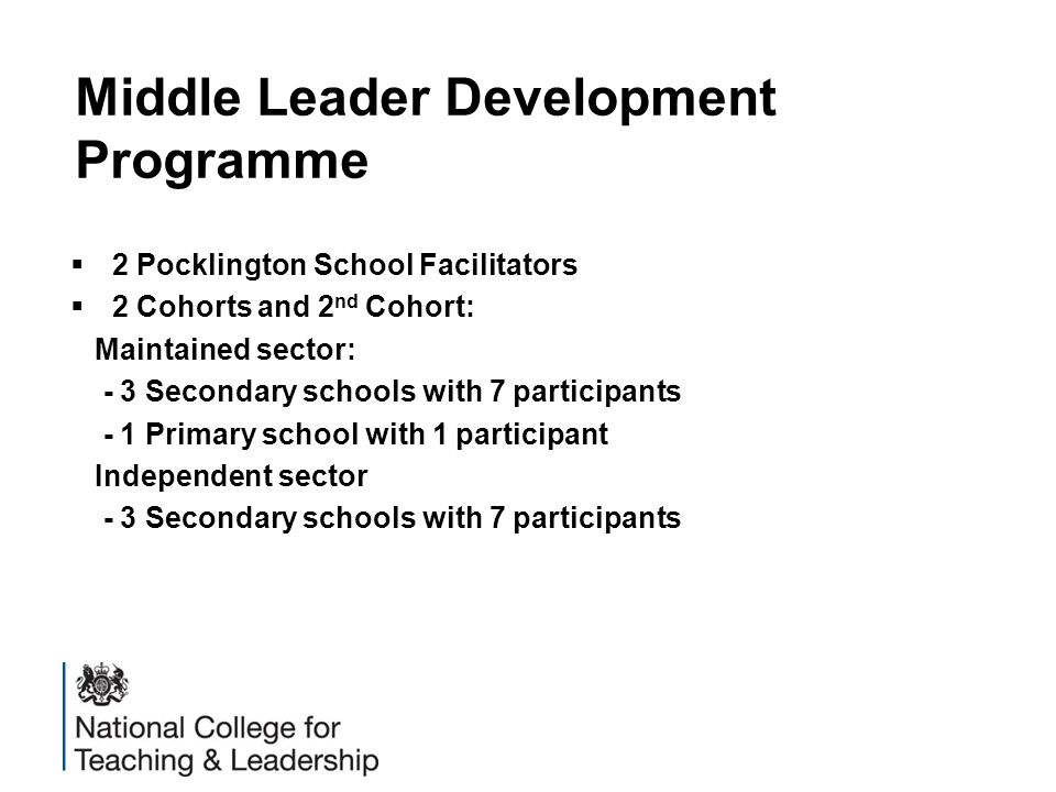 Middle Leader Development Programme  2 Pocklington School Facilitators  2 Cohorts and 2 nd Cohort: Maintained sector: - 3 Secondary schools with 7 participants - 1 Primary school with 1 participant Independent sector - 3 Secondary schools with 7 participants