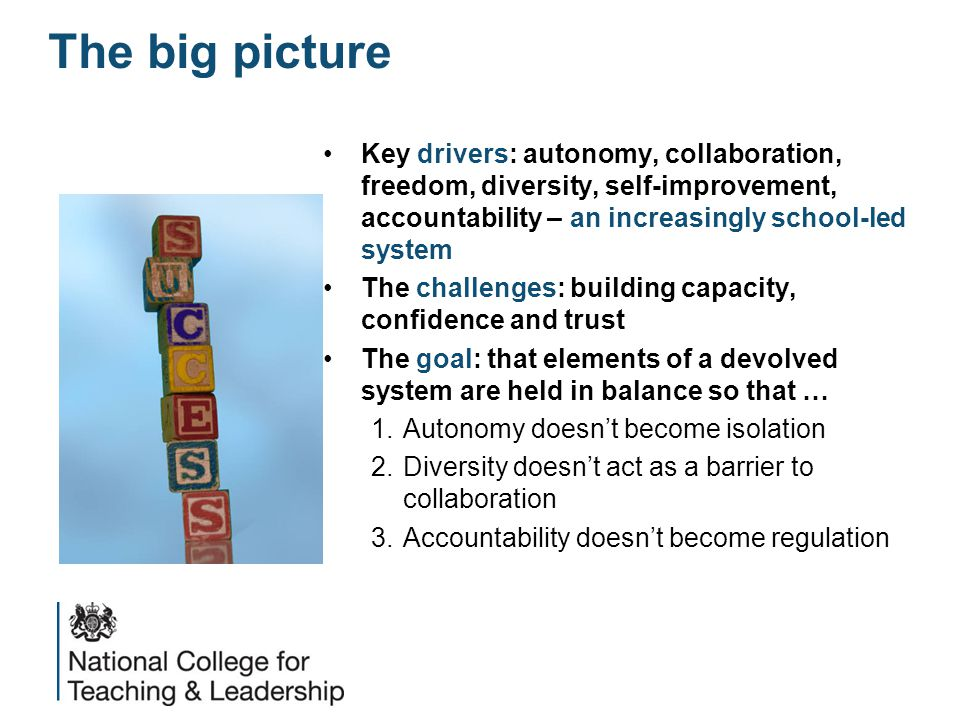 Key drivers: autonomy, collaboration, freedom, diversity, self-improvement, accountability – an increasingly school-led system The challenges: building capacity, confidence and trust The goal: that elements of a devolved system are held in balance so that … 1.Autonomy doesn't become isolation 2.Diversity doesn't act as a barrier to collaboration 3.Accountability doesn't become regulation The big picture